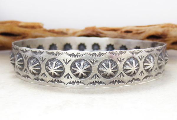 Image 1 of Large Stamped Sterling Silver Repousse Bracelet Virgil Begay - 3029rio