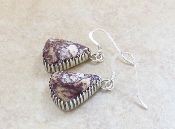 Image 1 of   Wild Horse Stone & Sterling Silver Earrings Navajo Jewelry - 3032rio