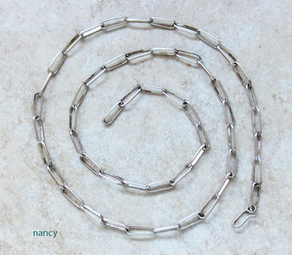Navajo Handcrafted Sterling Silver Link Chain 24 - 2265rio