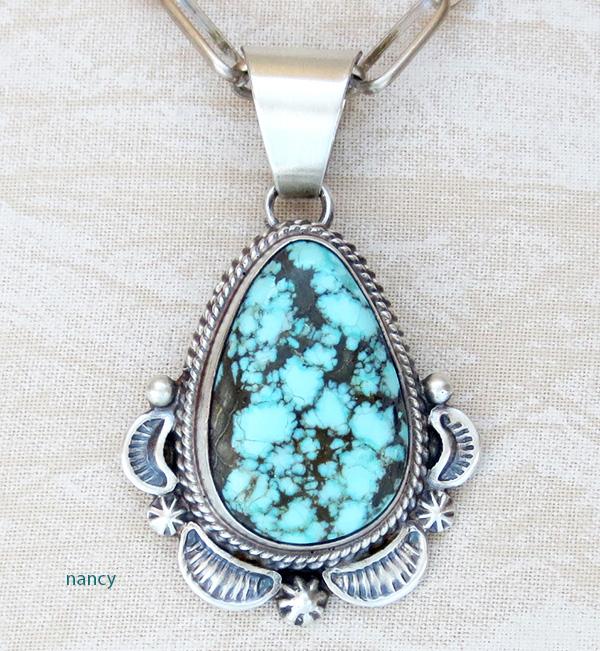 Kingman Turquoise & Sterling Silver Pendant EM Linkin Navajo - 2268rio