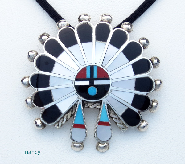 Zuni Made Turquoise Jet Coral Shell Inlay Sunface Pendant - 2765rio