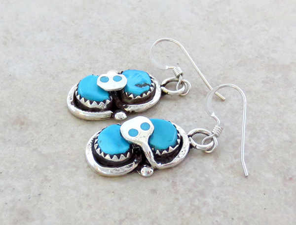 Image 1 of Effie C Turquoise Snake & Sterling Silver Earrings Zuni - 3041pl