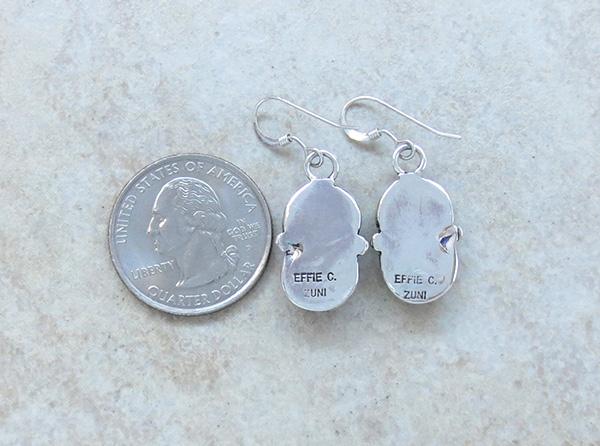 Image 2 of Effie C Turquoise Snake & Sterling Silver Earrings Zuni - 3041pl