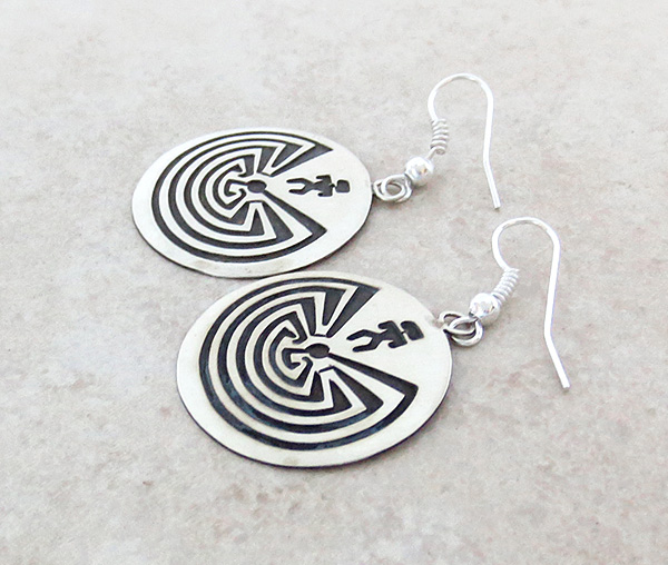 Image 1 of     Sterling Silver Overlay Earrings Navajo Stanley Gene - 2557sw