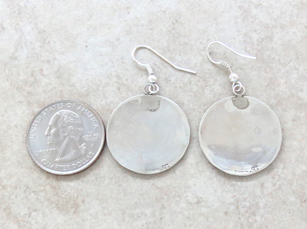 Image 2 of     Sterling Silver Overlay Earrings Navajo Stanley Gene - 2557sw