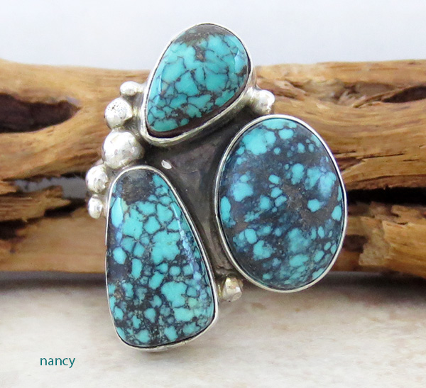 Turquoise & Sterling Silver Ring size 7 Navajo Made