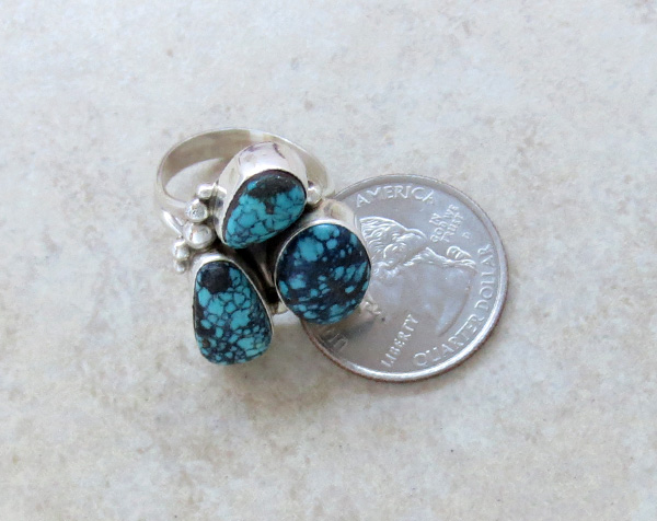 Image 4 of Turquoise & Sterling Silver Ring size 7 Navajo Jewelry - 2275sw