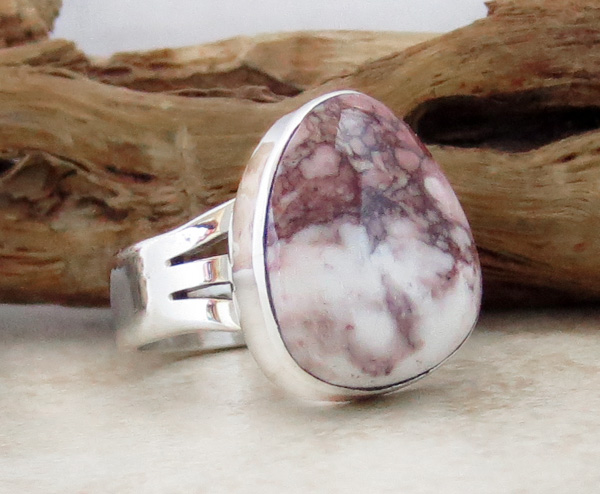 Image 2 of       Wild Horse Stone & Sterling Silver Ring Sz 6.75 Native American  - 3049sn