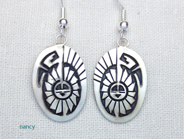 Sterling Silver Overlay Earrings Navajo Made - 2801sw