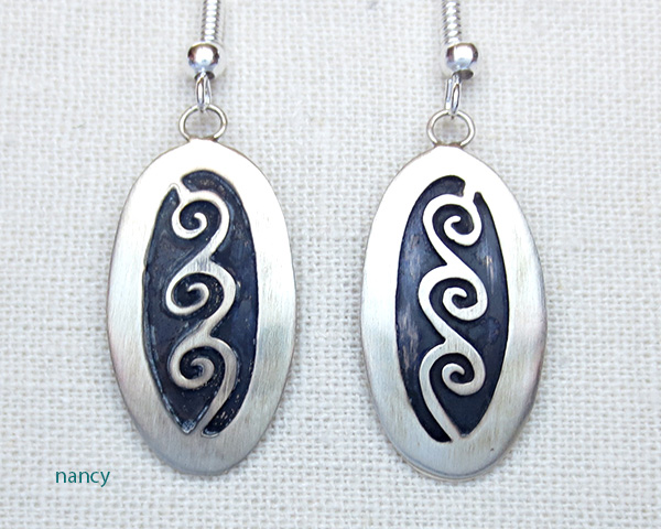 Sterling Silver Overlay Earrings Navajo Made - 3048sw