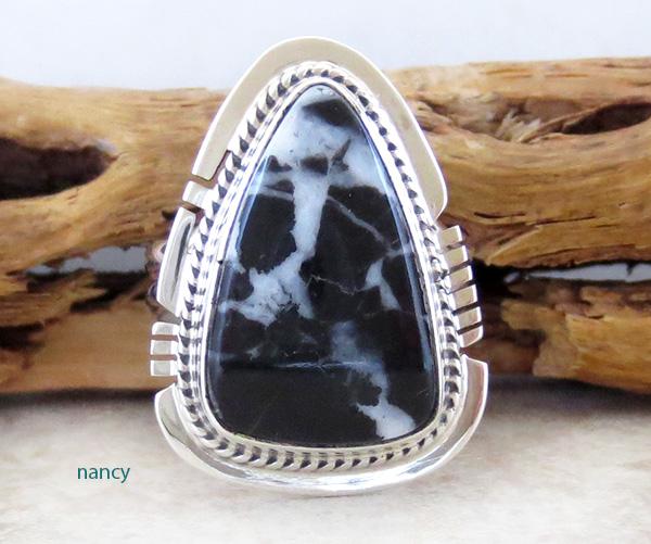 Navajo White Lightening Stone & Sterling Silver Ring size 7 Larson Lee - 1502sn