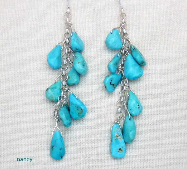 Long Fox Turquoise & Silver Earrings Navajo - 1605sw