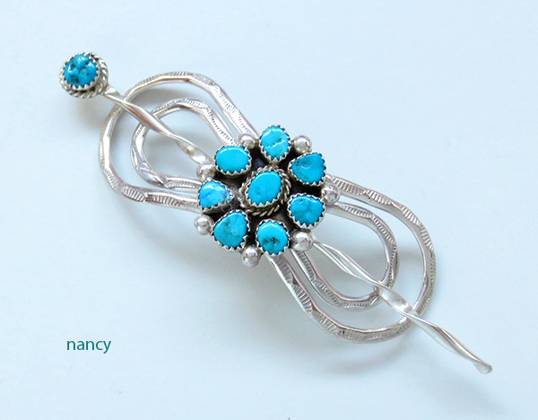 Handcrafted Sterling Silver With Turquoise Stick Barrette Navajo Made - 3053sw