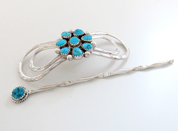 Image 1 of Handcrafted Sterling Silver With Turquoise Stick Barrette Navajo Made - 3053sw