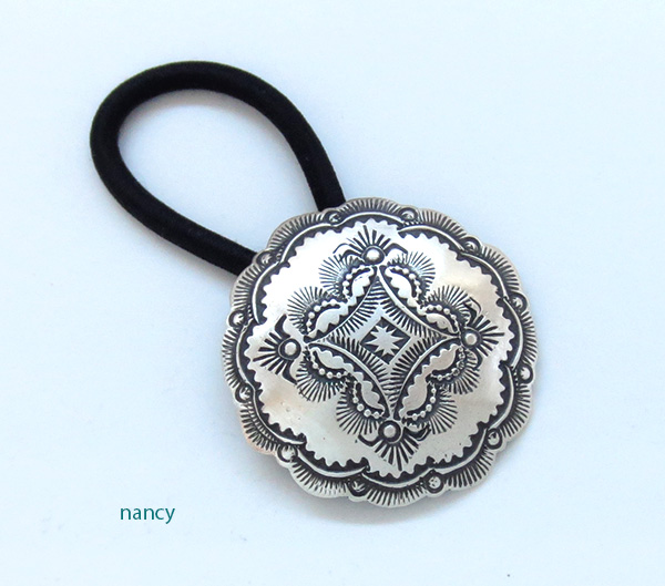 Handcrafted Stamped Sterling Silver Pony Tail Holder Navajo