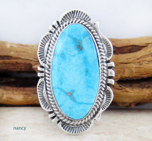Will Denetdale Navajo Turquoise & Sterling Silver Ring Size 7 - 1554pl
