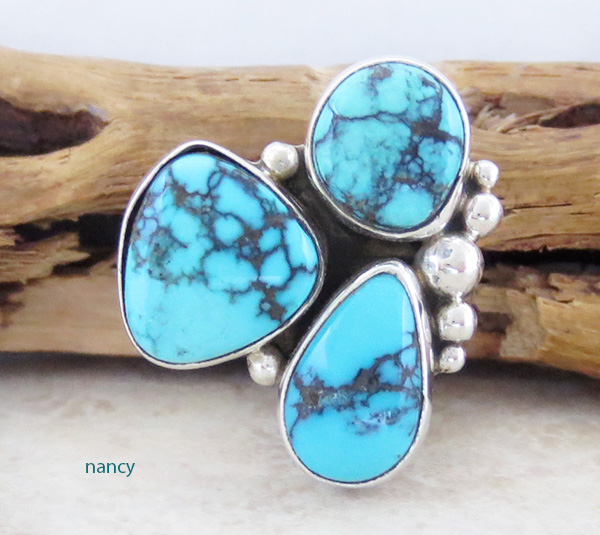 Turquoise & Sterling Silver Ring size 6.5 Navajo Made