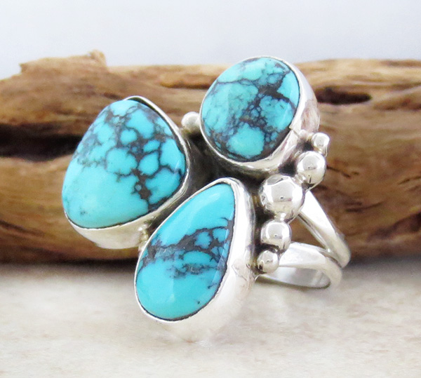 Image 1 of  Turquoise & Sterling Silver Ring size 6.5 Navajo Made - 2042sw