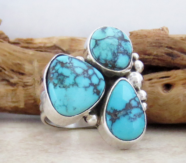 Image 2 of  Turquoise & Sterling Silver Ring size 6.5 Navajo Made - 2042sw