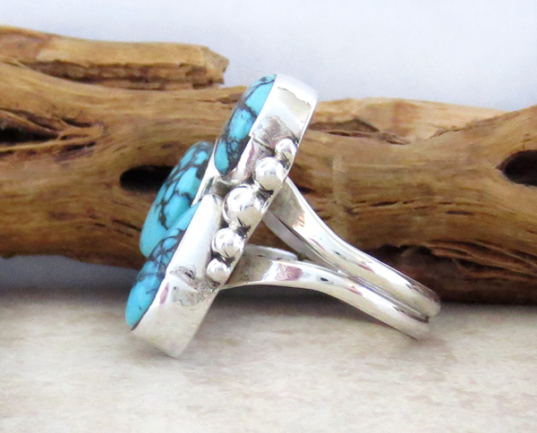 Image 3 of  Turquoise & Sterling Silver Ring size 6.5 Navajo Made - 2042sw