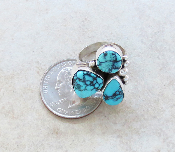 Image 4 of  Turquoise & Sterling Silver Ring size 6.5 Navajo Made - 2042sw