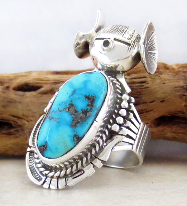 Image 1 of   Hopi Maiden Turquoise Kachina Ring sz 8.5 Bennie Ration Navajo - 2819br