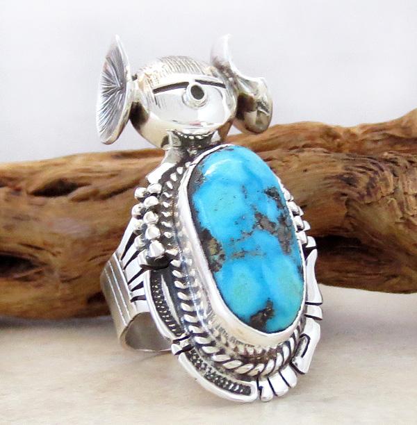 Image 2 of   Hopi Maiden Turquoise Kachina Ring sz 8.5 Bennie Ration Navajo - 2819br