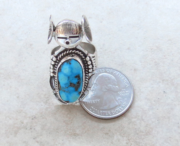 Image 4 of   Hopi Maiden Turquoise Kachina Ring sz 8.5 Bennie Ration Navajo - 2819br