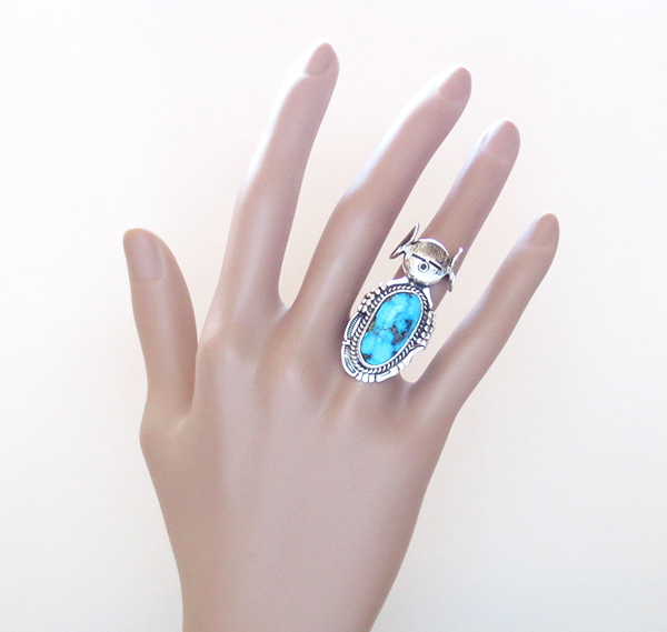 Image 6 of   Hopi Maiden Turquoise Kachina Ring sz 8.5 Bennie Ration Navajo - 2819br