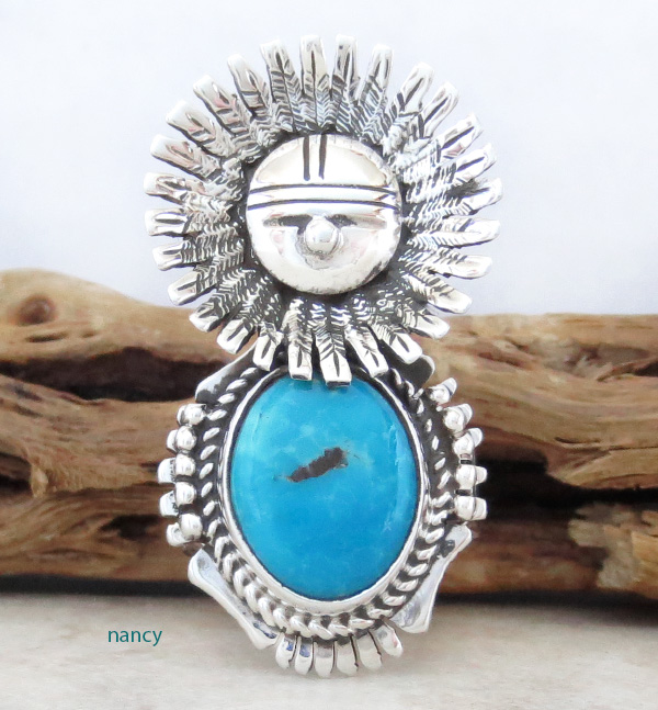 Morning Singer Turquoise Kachina Ring size 9 Bennie Ration Navajo - 3071br