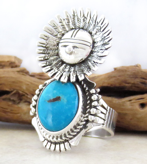 Image 1 of Morning Singer Turquoise Kachina Ring size 9 Bennie Ration Navajo - 3071br