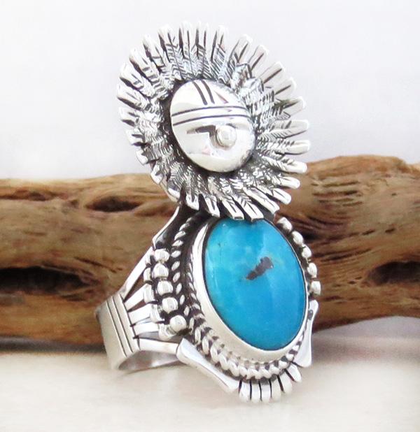 Image 2 of Morning Singer Turquoise Kachina Ring size 9 Bennie Ration Navajo - 3071br