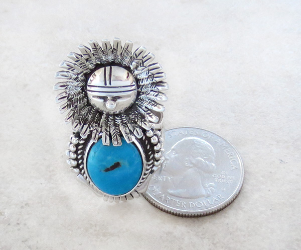 Image 4 of Morning Singer Turquoise Kachina Ring size 9 Bennie Ration Navajo - 3071br
