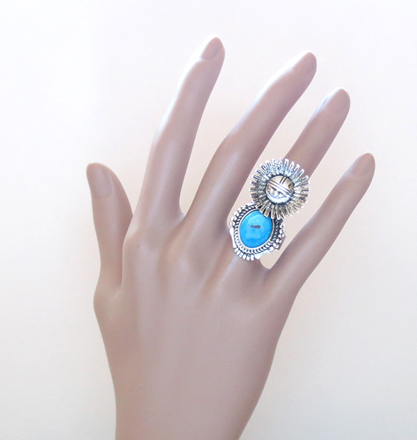 Image 6 of Morning Singer Turquoise Kachina Ring size 9 Bennie Ration Navajo - 3071br