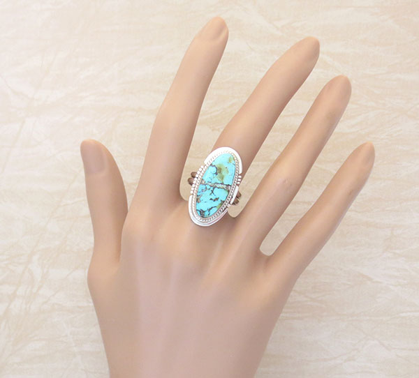 Royston Turquoise & Sterling Silver Ring size 8.75 Navajo Made - 3076sn