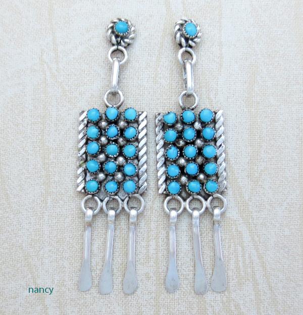 Sterling Silver & Turquoise Earrings Zuni Calvert Lamy - 2823pl