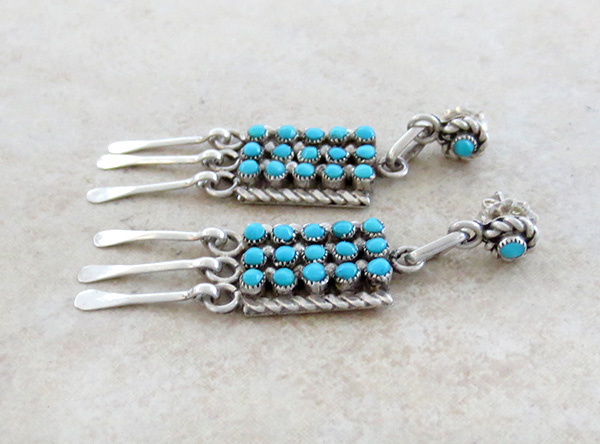 Image 1 of    Sterling Silver & Turquoise Earrings Zuni Calvert Lamy - 2823pl