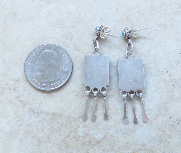 Image 2 of    Sterling Silver & Turquoise Earrings Zuni Calvert Lamy - 2823pl