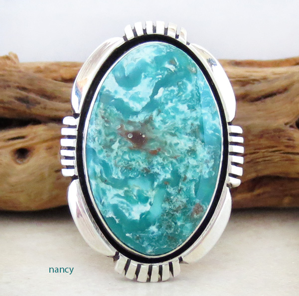 Navajo Made Turquoise & Sterling Silver Ring Size 7 - 1342pl