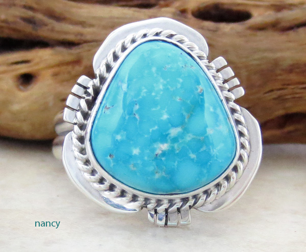 Kingman Turquoise & Sterling Silver Ring Size 9 Navajo Made - 3084sn