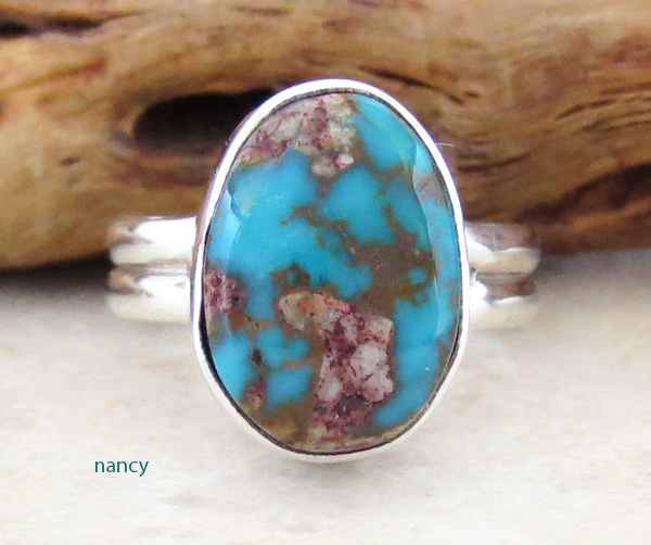 Little Turquoise & Sterling Silver Ring size 7.75 Navajo Made - 1346sn
