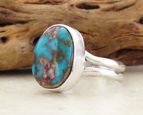 Image 1 of   Little Turquoise & Sterling Silver Ring size 7.75 Navajo Jewelry - 1346sn