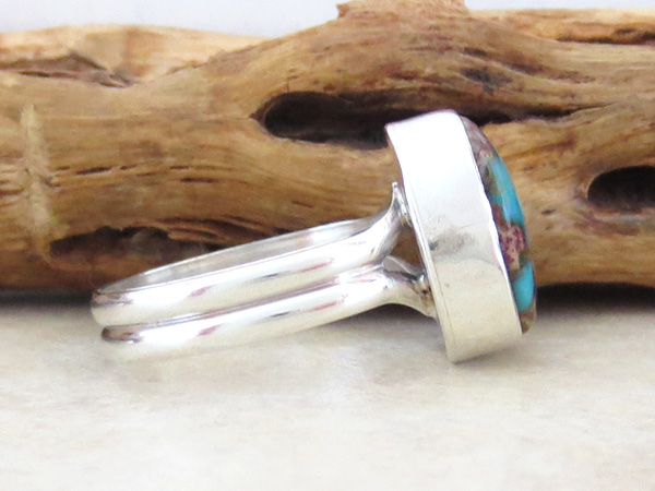 Image 2 of   Little Turquoise & Sterling Silver Ring size 7.75 Navajo Jewelry - 1346sn