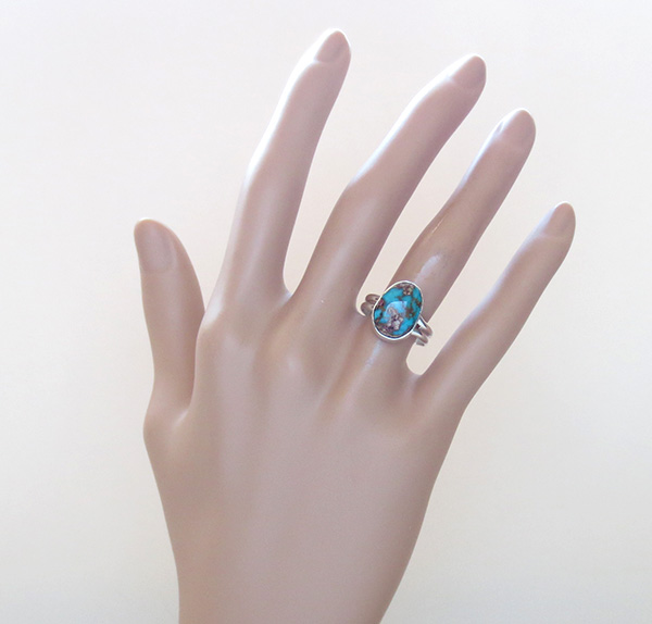 Image 4 of   Little Turquoise & Sterling Silver Ring size 7.75 Navajo Jewelry - 1346sn