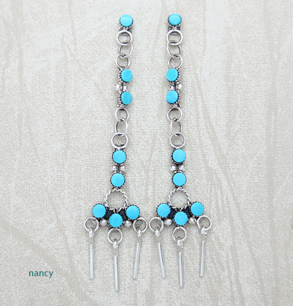 Sleeping Beauty Turquoise & Sterling Silver Earrings Zuni Made