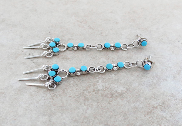 Image 1 of Sleeping Beauty Turquoise & Sterling Silver Earrings Zuni Made - 1348pl