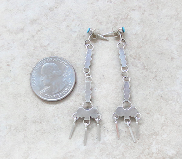 Image 2 of Sleeping Beauty Turquoise & Sterling Silver Earrings Zuni Made - 1348pl