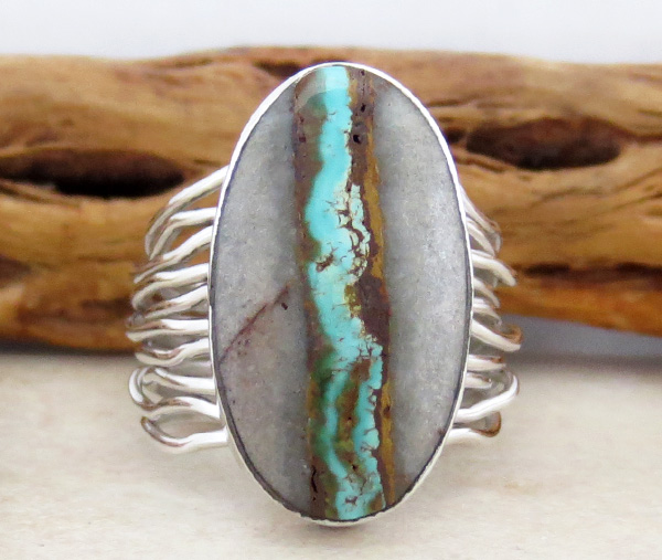 Boulder Turquoise & Sterling Silver Ring Size 9 Navajo Made - 2830sn