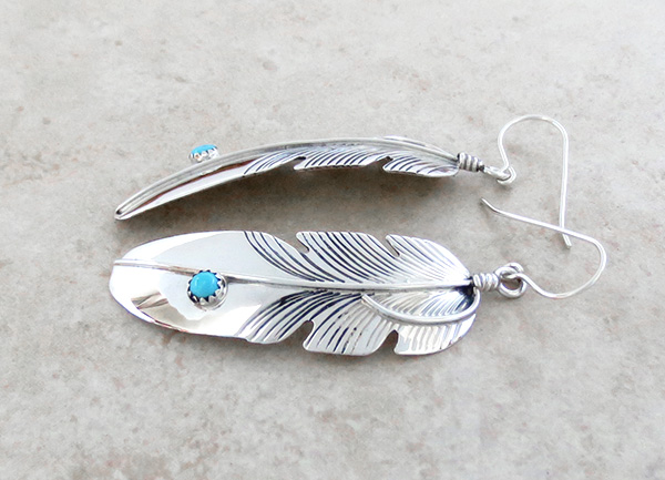Image 1 of      Classic Handcrafted Sterling Silver Feather Earrings Lena Platero - 3104sn