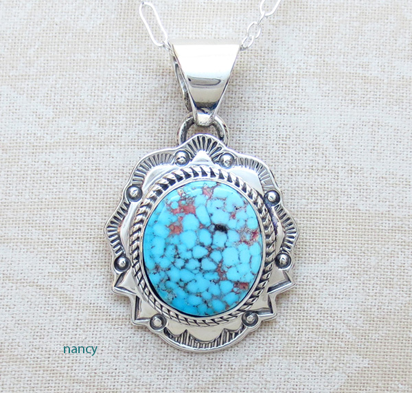Small Kingman Turquoise & Sterling Silver Pendant Navajo Made - 2904sn